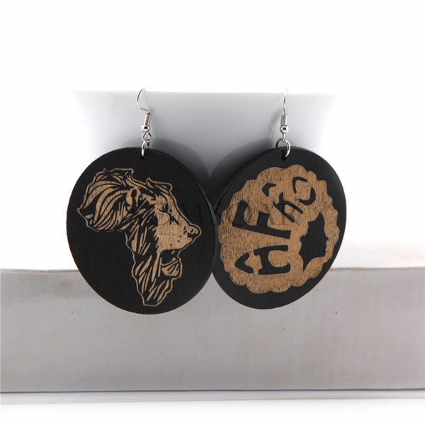 Vintage Round- Wooden Hook Earrings