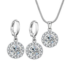 Rhinestone Centered Crystal Studded Sleek Pendant Set