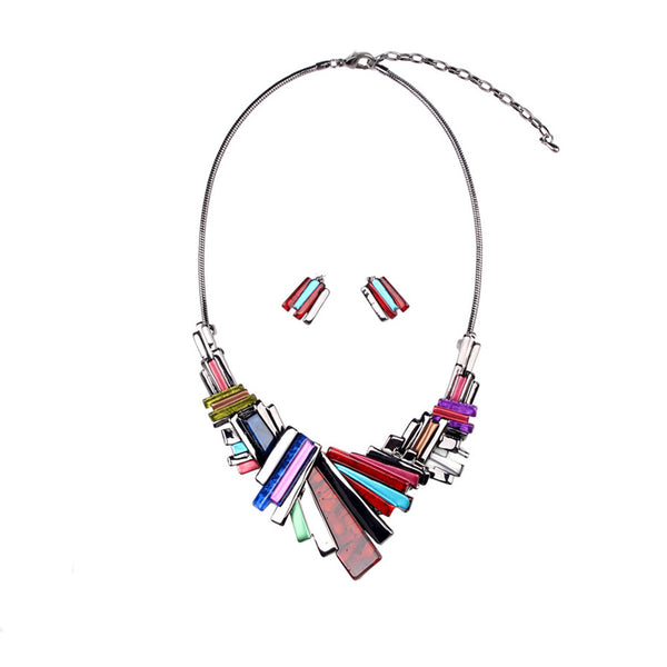 Rainbow Cluster-Stone Statement Necklace Set