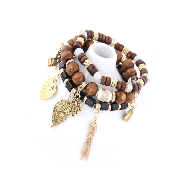 Wooden Bead and Barrel Leaf hanging bracelet