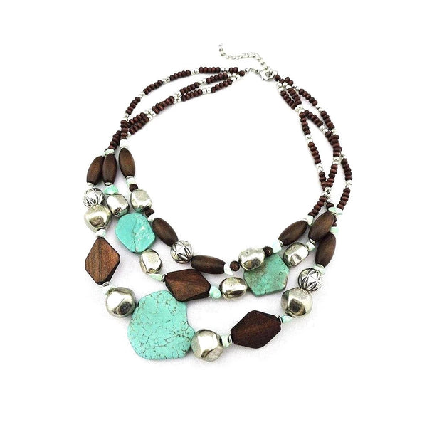 Tri-layer Raw Crystal Statement Necklace