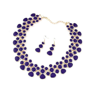 Azure Blue Crystal Alloy Statement Necklace Set