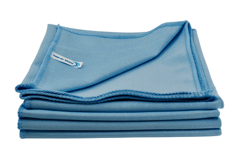 Five Stacked Blue Microfibre Towels