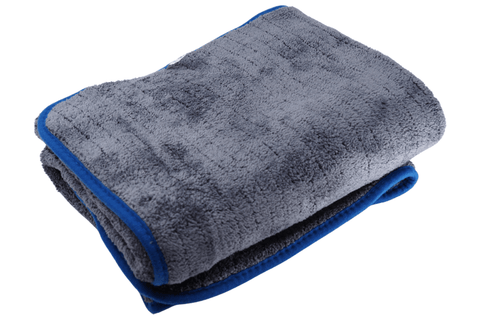 Large Folded Grey Microfibre Towel with Blue Trim