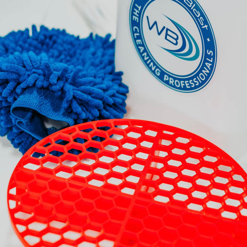 Red, Round Grit Guard with a Wat-er Blast Square Bucket and a Blue Microfibre Wash Mitt