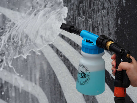 """Snow Foaming Applicator Gun with Blue Marine Scented """"Snow Foam' Car Wash Product Spraying Out Of It"""