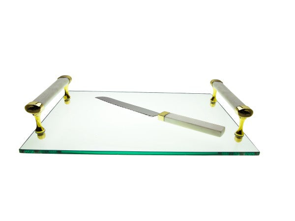 Glass Challah Board with White Marble Handles and Knife
