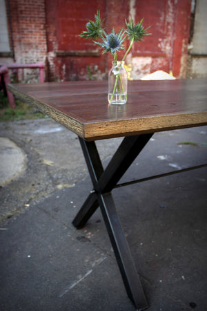 Oxidized Oak X-Rod Dining Table