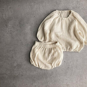 Unisex Baby Cotton Shirt and Bloomers - 2 Piece Set