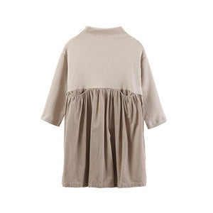 Girls Cotton and Spandex Mock Neck Dress with Pockets