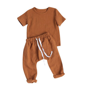 Unisex Baby Cotton Muslin 2 Piece T-shirt and Pants