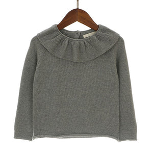 Girls Ruffled Neck Knitted Sweater