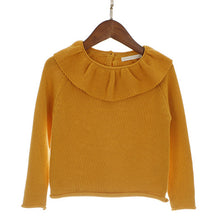 Load image into Gallery viewer, Girls Ruffled Neck Knitted Sweater
