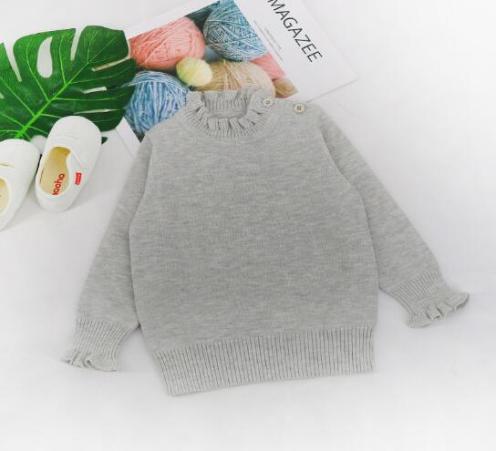 Girls Knitted Ruffle Detail Sweater