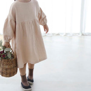 Girls Long Sleeved Cotton Dress