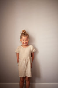 Girls Short Sleeved Cotton Muslin Dress