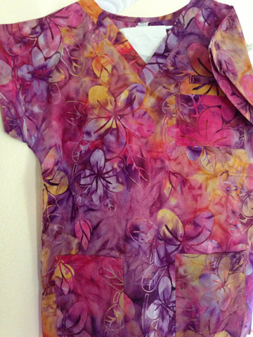 Orange/Purple/Pink Plumeria Scrub Top