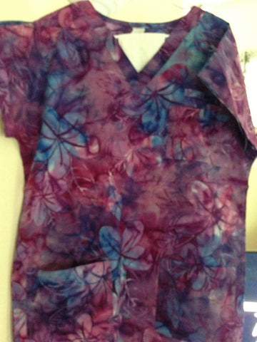 Deep Purple/Blue Plumeria Scrub Top