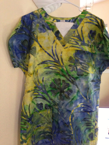 Yellow/Blue/Green Fern Scrub Top