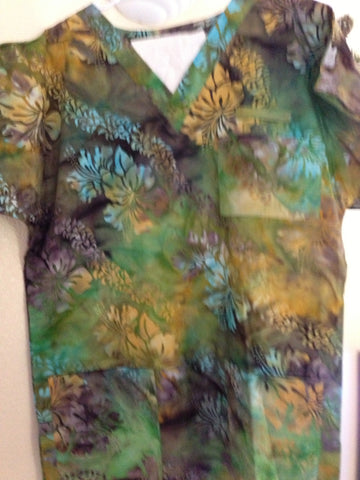 Gold/Green Hibiscus Scrub Top