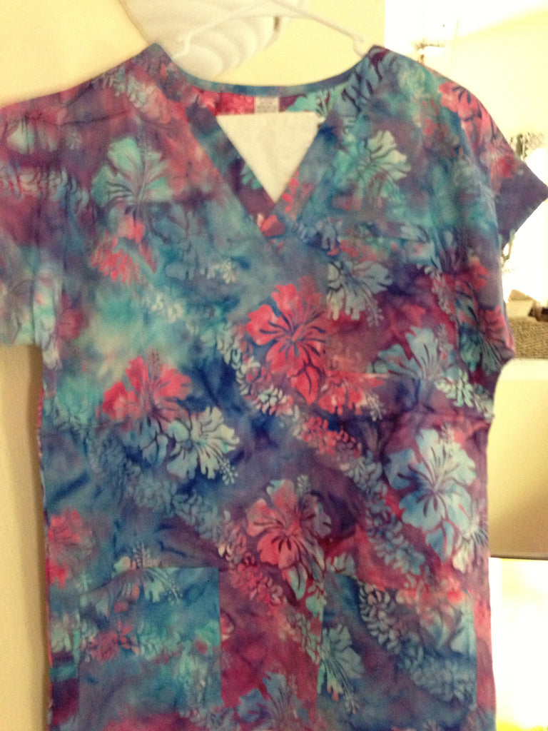 Pink and Blue Hibiscus Scrub Top