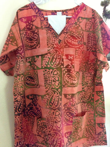 Peach Tribal Scrub Top