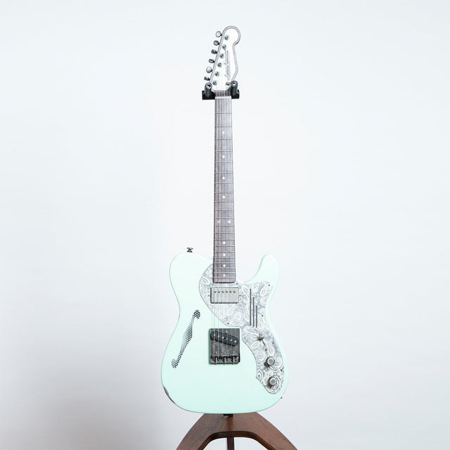 James Trussart Deluxe SteelCaster, Sea Foam Green on Cream Paisley
