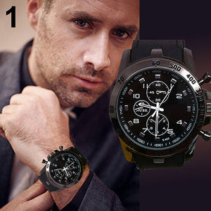 Luxury Silicone Sports Watch Men Fashion Quartz Analog Business Wrist Watch
