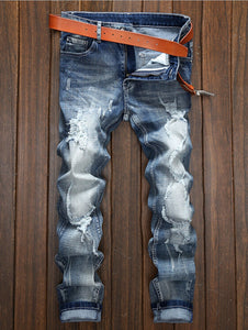 Holes and Cat's Whisker Design Straight Leg Jeans