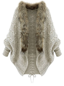 Faux Fur Batwing Sleeve, Open Front Cardigan