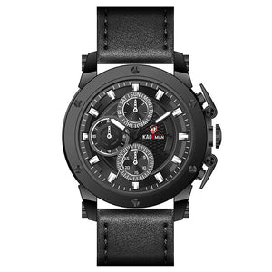 Multifunctional Men Leather Strap Waterproof Sports Quartz Watch