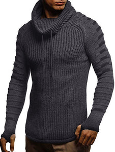 Finger Hole Contrast Color Cowl Neck Sweater for men