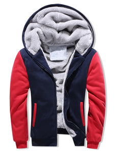 Contrast Color Brushed Front Zip Hoodie for men