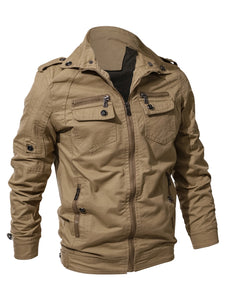 Multi Zip Pockets Zip Up Cargo Jacket for men