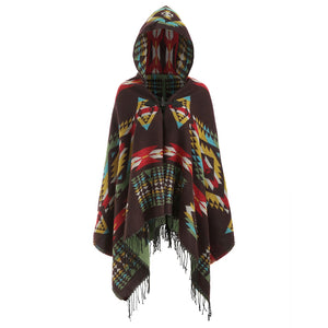Hooded Graphic Fringed Plus Size Tribal Cardigan