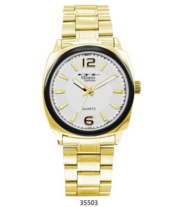 M Milano Expressions  Gold Metal Band Watch with Gold Case