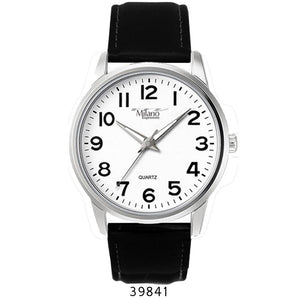 M Milano Expressions Men Black Leather Strap Watch with Silver Case