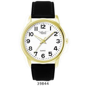 M Milano Expressions Men Black Leather Strap Watch with Gold Case