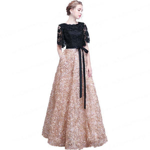 Black Lace Prom dress Short Sleeve A-Line Evening Party Dress