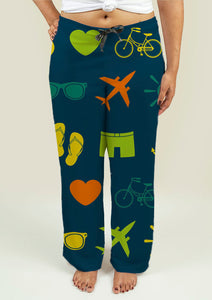 Ladies Pajama Pants with Summer Theme