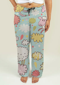 Ladies Pajama Pants with Sheeps on Clouds