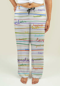 Ladies Pajama Pants with Stripe Pattern with words