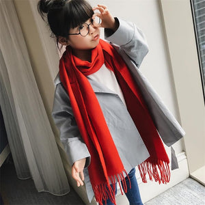 Children's Imitation cashmere Soft Scarf Plaid Long Pashmina