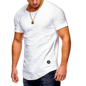 Men T Shirt Pleated Shoulder Slim streetwear