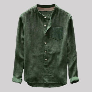 Autumn Casual Long Sleeve Linen Shirt for Men