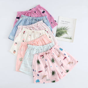 Summer Women Sleep Shorts Cotton Gauze Pajamas