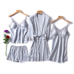 Faux Silk 4pcs Pajama Set