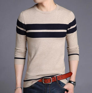 Men's Sweater O-Neck Striped Slim Fit Knittwear