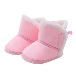 Baby Girls Warm Fleece Boots Winter Lace-up Soft Bottom