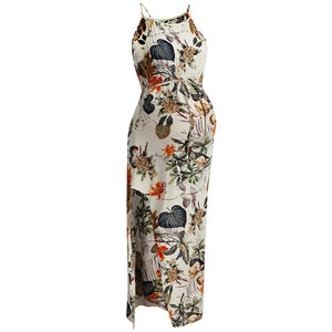 Maternity Dresses Women's Strap Sleeveless  Floral Print Long Dress Photography Summer Dresses